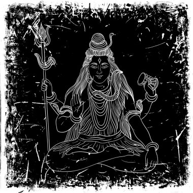 Vintage poster with sitting Indian god Shiva on the grunge background. Retro hand drawn vector illustration stock vector