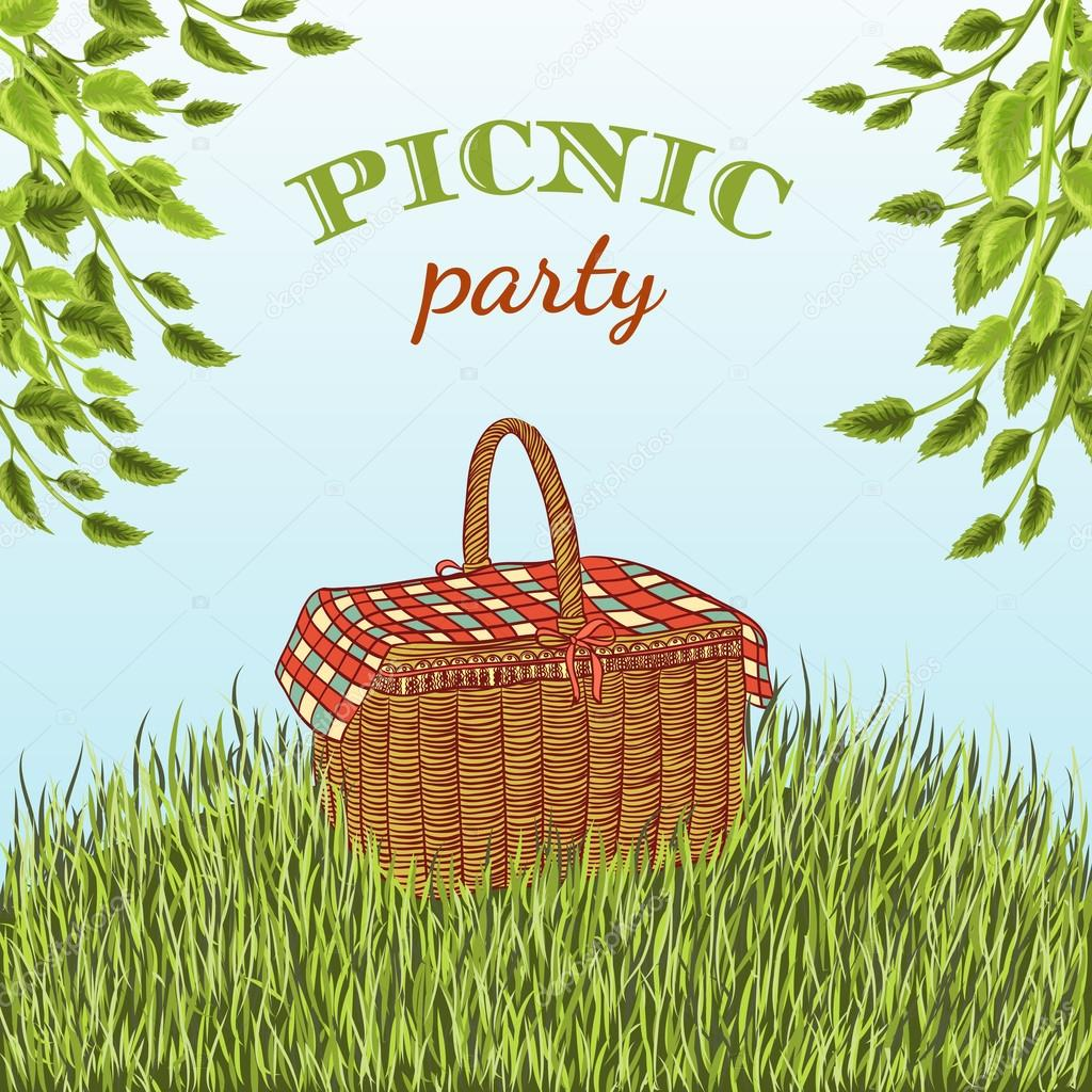 Picnic party in meadow with picnic basket and tree branches. Summer vacation. Hand drawn vector illustration