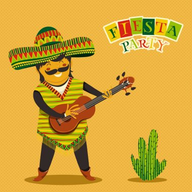 Mexican Fiesta Party Invitation with Mexican man playing the guitar in a sombrero and cactuses. Hand drawn vector illustration poster. Flyer or greeting card template