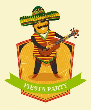 Mexican Fiesta Party Invitation with Mexican man playing the guitar in a sombrero. Hand drawn vector illustration poster. Flyer or greeting card template