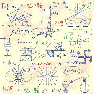 Physical formulas, graphics and scientific calculations. Back to School: science lab objects doodle vintage style sketches. Vintage hand drawn illustration