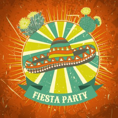 Mexican Fiesta Party label with sombrero and cactuses .Hand drawn vector illustration poster with grunge background. Flyer or greeting card template