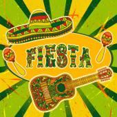 mexikanische Fiesta-Party mit Maracas, Sombrero und Gitarre. handgezeichnetes Vektor Illustration Poster mit Grunge Hintergrund
