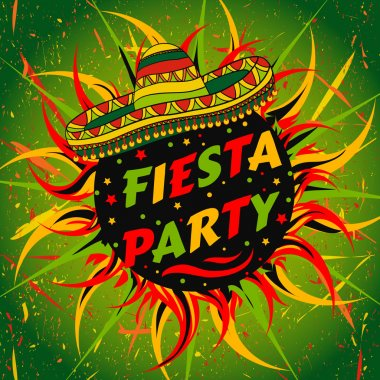 Mexican Fiesta Party label with sombrero and confetti .Hand drawn vector illustration poster with grunge background. Flyer or greeting card template