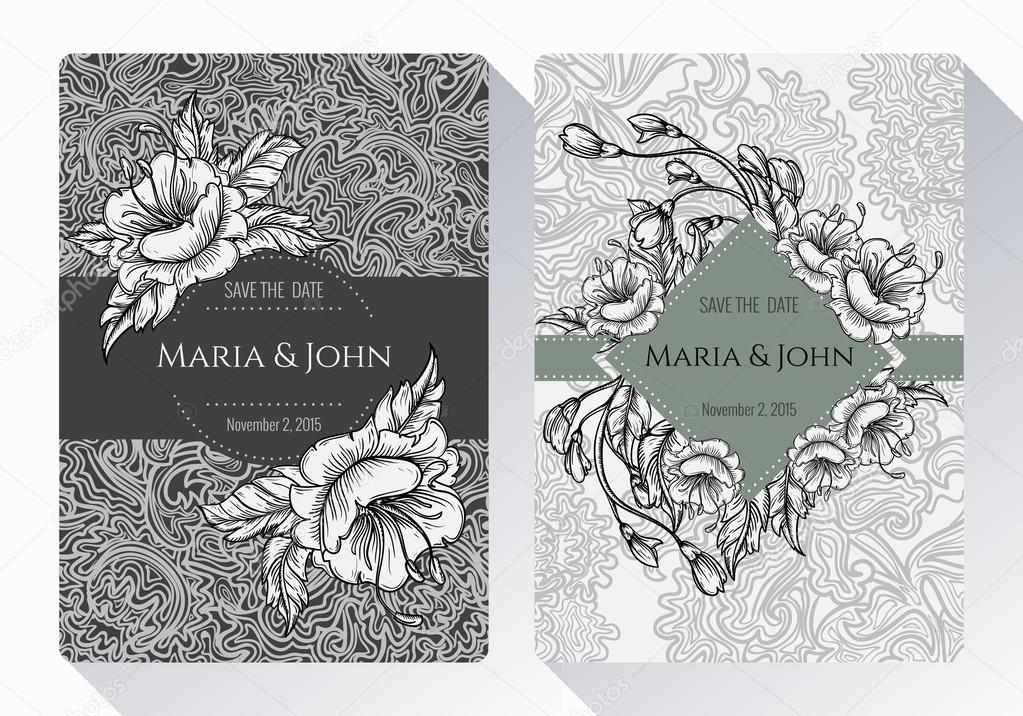 vintage save the date or wedding invitation card collection with