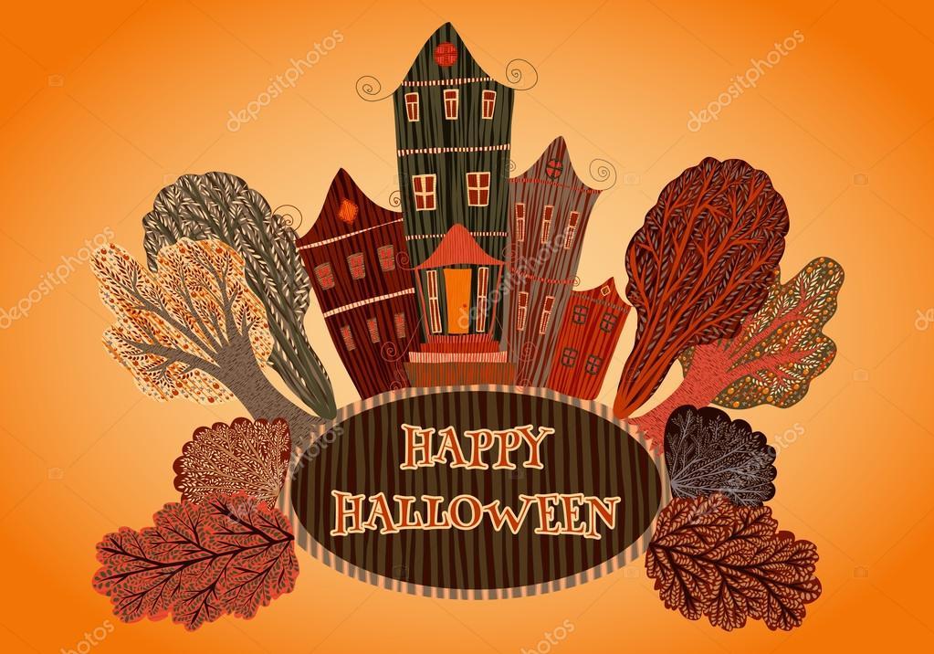 Souvent Happy Halloween avec maison et arbres. Carte, imprimer, carte  FZ79