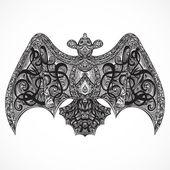 Vintage tetování design s létáním zdobené bat nejlepší vew. Karty, tisk, tričko, pohlednice, plakát pro oslavu Halloween. Retro ručně tažené vektorové ilustrace