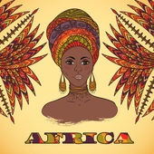Fényképek Beautiful African woman in turban and abstract palm leaves with ethnic geometric ornament. Hand drawn vector illustration. Design, card, print, poster, postcard