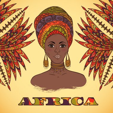 Beautiful African woman in turban and abstract palm leaves with ethnic geometric ornament. Hand drawn vector illustration. Design, card, print, poster, postcard
