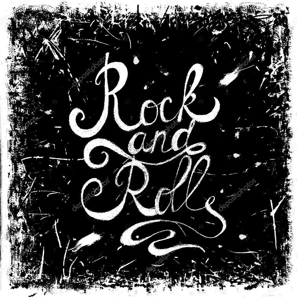 Vintage hand drawn lettering rock and roll on grunge background. Retro vector illustration. Design, retro card, print, t-shirt, postcard