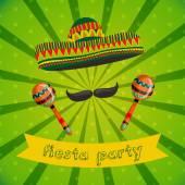 mexikanische Fiesta-Party mit Maracas, Sombrero und Schnurrbart. von Hand gezeichnetes Vektor-Illustrationsposter