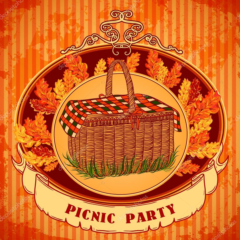 Picnic party in meadow with picnic basket and autumn leaves grass picnic party in meadow with picnic basket and autumn leaves grass retro invitationcard print postcard poster hand drawn vector illustration vetor stopboris Images