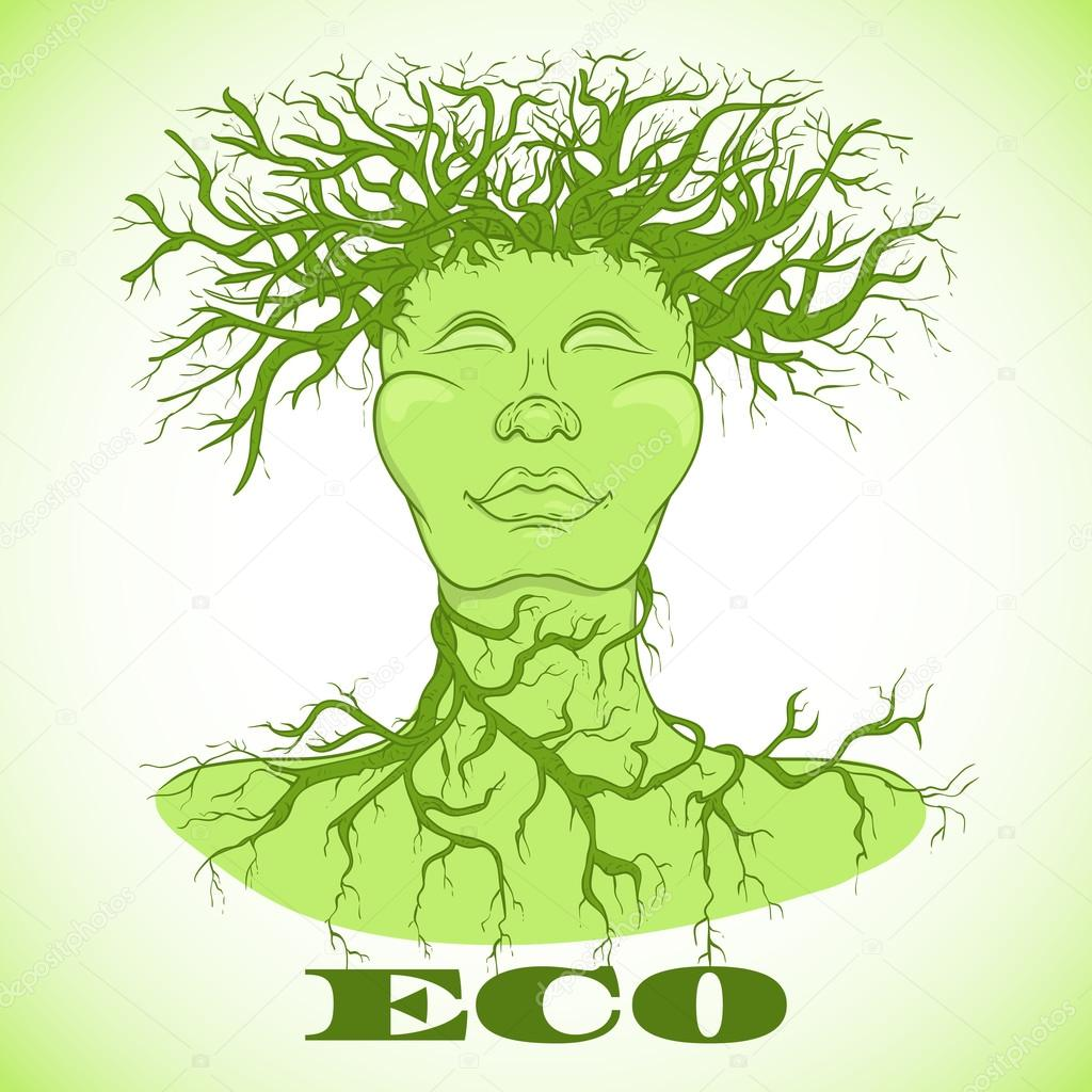Eco man symbol. Tree with person. Ecology concept. Hand drawn vector illustration