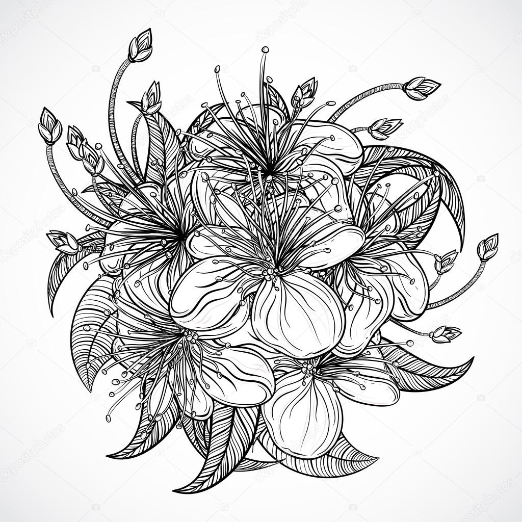 Bouquet of exotic flowers.Black and white tropical flowers
