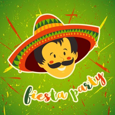 Mexican Fiesta Party Invitation with Mexican man with mustache and in sombrero. Hand drawn vector illustration poster. Flyer or greeting card template