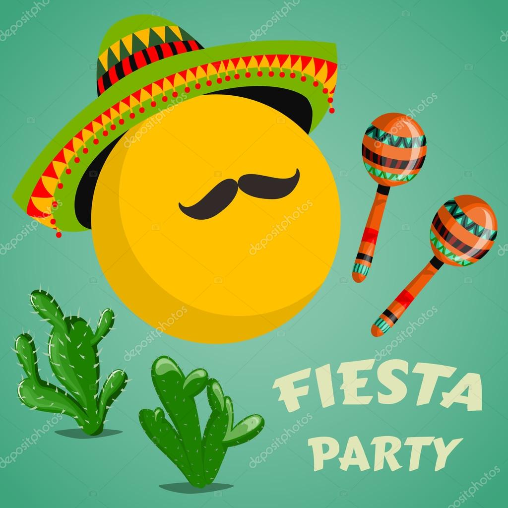 Mexican fiesta party invitation with maracas sombrero cactuses and mexican fiesta party invitation with maracas sombrero cactuses and mustache hand drawn vector stopboris Image collections