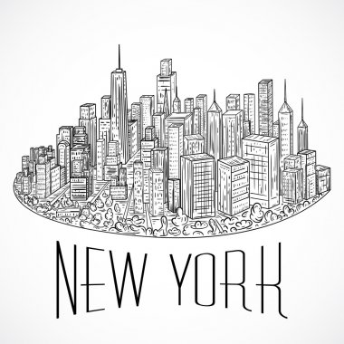 New York. Vintage hand drawn city landscape. Vector illustration in line art style