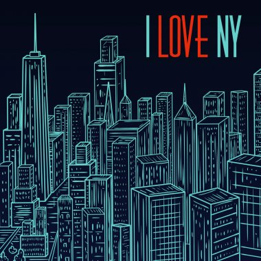 New York. Vintage colorful hand drawn city landscape. Vector illustration in line art style