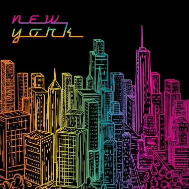 New York. Vintage colorful hand drawn night city landscape. Vector illustration in line art style