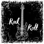 Vintage kézzel rajzolt poszter elektromos gitár és a betűk rock and roll-grunge háttér. Retro vektoros illusztráció. Design, retro kártya, nyomtatás, póló, képeslap