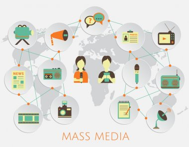 Mass media journalism news concept flat business icons of newspaper paparazzi profession live radio for infographics design web elements with a background map of the world