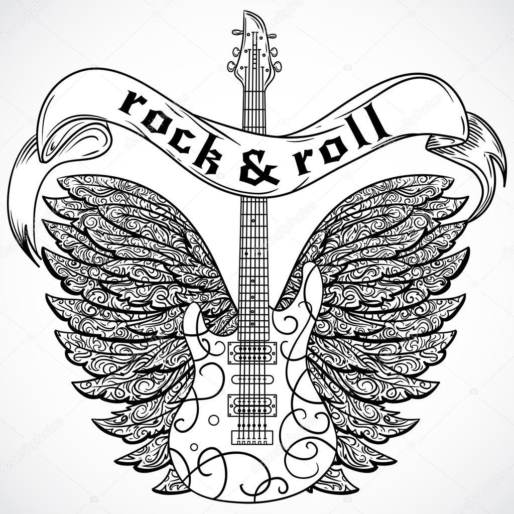 Rock And Roll Sztuka Plakatu Z Gitara Elektryczna