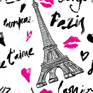 Paris. Vintage seamless pattern with Eiffel Tower and hand drawn lettering. Retro hand drawn vector illustration.