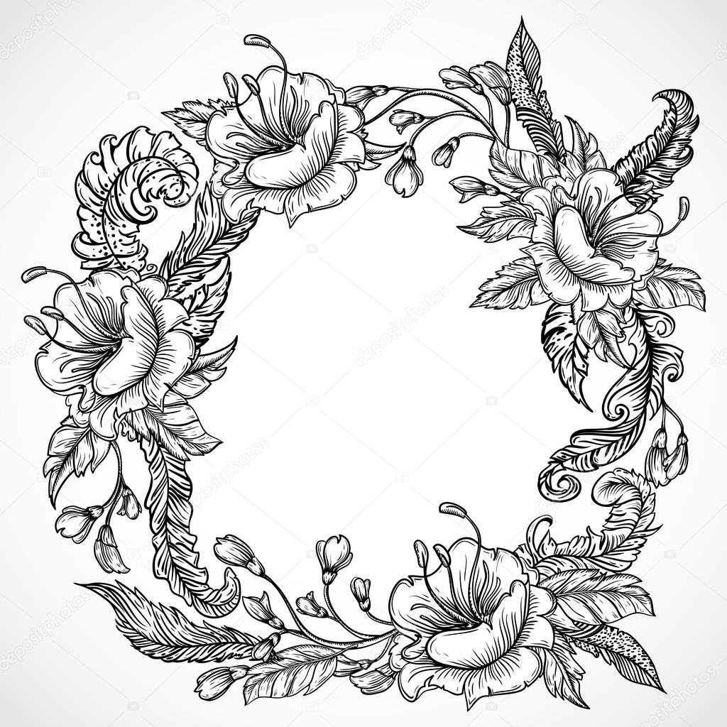 Vintage floral highly detailed hand drawn wreath of flowers and feathers.Retro banner, invitation, wedding card, scrap booking. Isolated objects. Stock vector illustration
