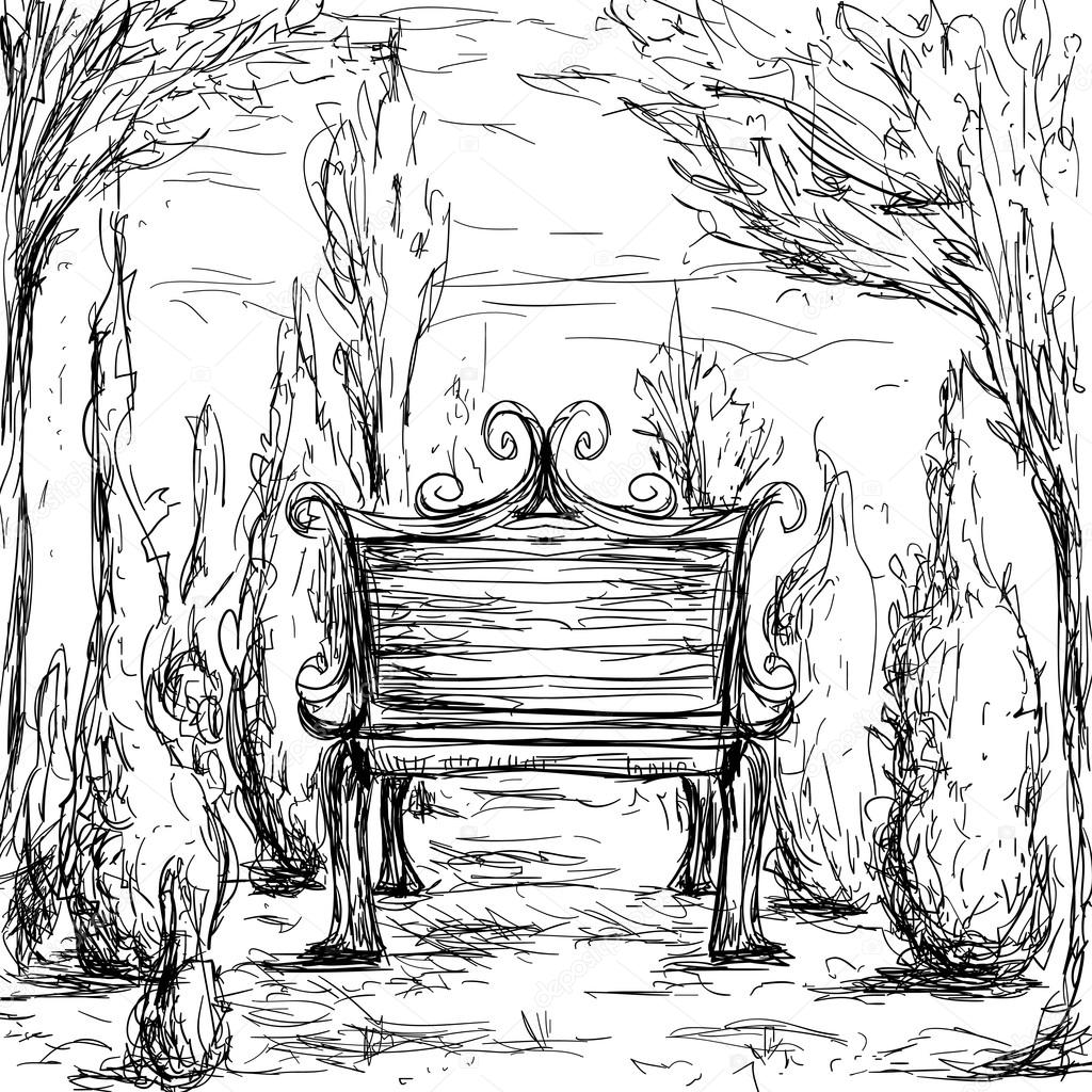 Park bench, trees and bushes. Vintage hand drawn illustration in sketch style
