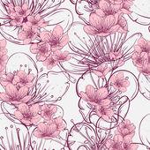 Fényképek Varrat nélküli mintát cseresznyefa virágzik. Vintage kézzel rajzolt vektoros illusztráció vázlat stílusú