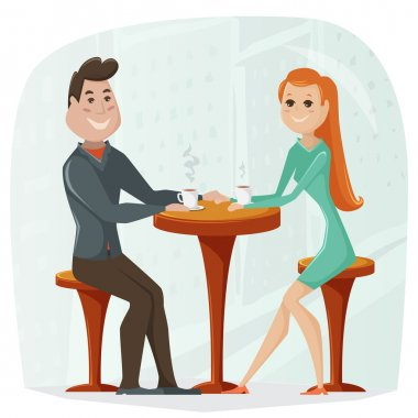 Loving couple in a cafe. Vector cartoon illustration in retro style