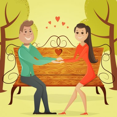 Loving couple on a bench in the park. Cartoon vector illustration in retro style clip art vector