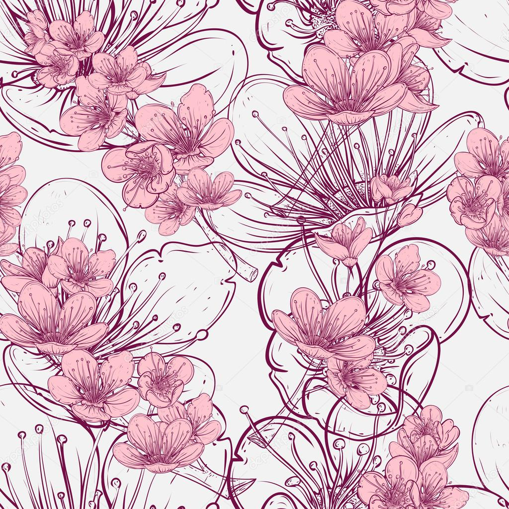 Wzór Z Drzewa Wiśni Kwiat Sztuka Wektor Ilustracja W Styl