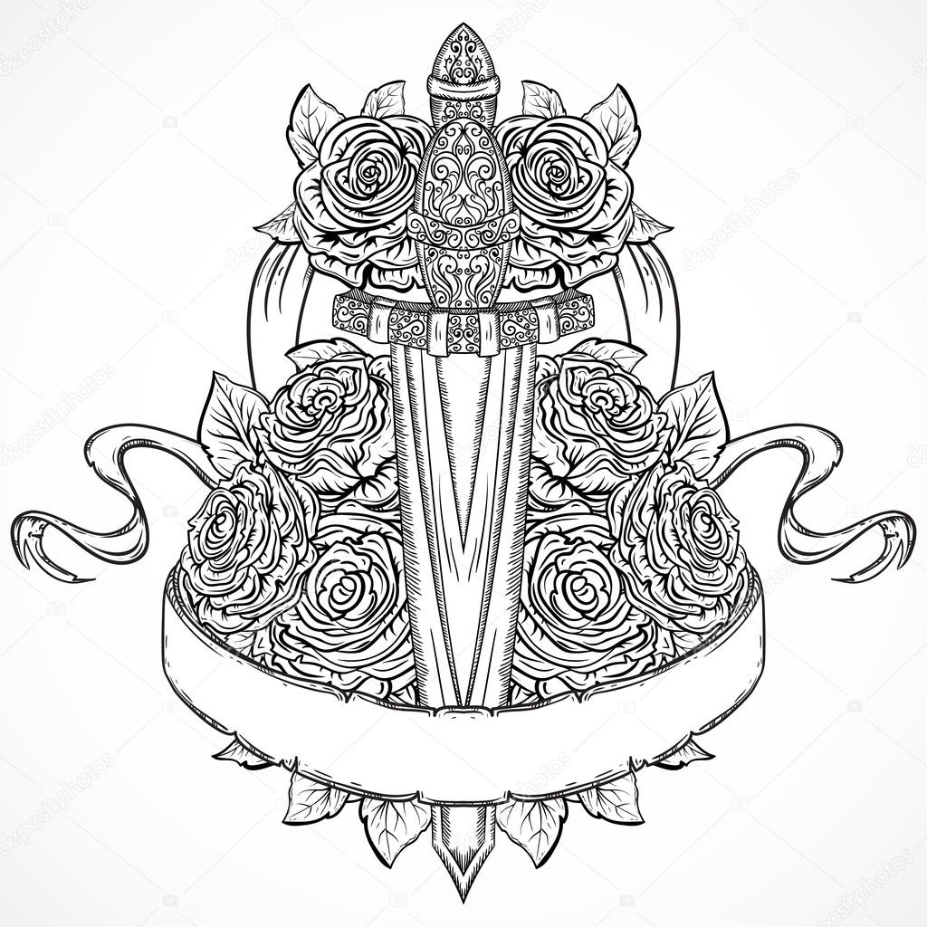 Medieval sword, roses, leaves and ribbon banner. Vintage floral highly detailed hand drawn illustration. Isolated elements. Victorian Motif. Tattoo design