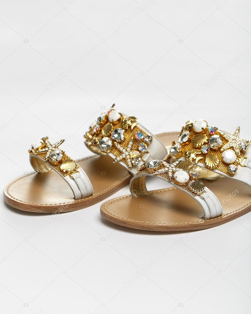 0a33af56463 The woman summer sandals isolated on a white background — Photo by ...