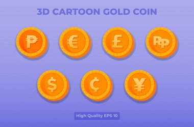 3d cartoon gold coin illustration. coin currency pack . vector design for landing page, banner, website, web, poster, mobile apps, ui ux, homepage, social media, flyer, brochure icon