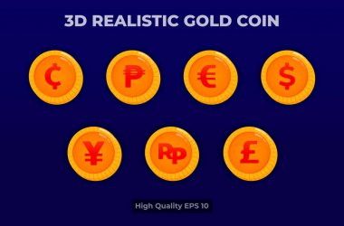 3d realistic gold coin illustration. coin currency pack . vector design for landing page, banner, website, web, poster, mobile apps, ui ux, homepage, social media, flyer, brochure icon