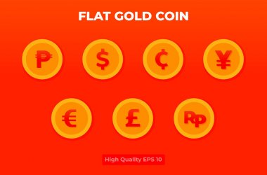 Flat gold coin illustration. coin currency pack . vector design for landing page, banner, website, web, poster, mobile apps, ui ux, homepage, social media, flyer, brochure icon