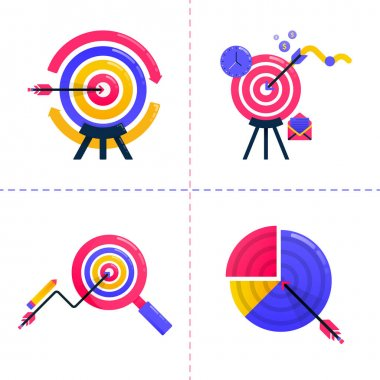 Icon design of finance, business, financial, marketing analysis, charts and achieve goal targets. Icon pack template can be use for landing page, ui, web, mobile app, poster ads, banner, website icon