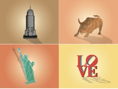 Icons, illustration attractions in New York USA