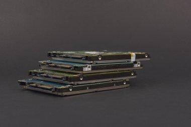SATA hard drive,  on dark background