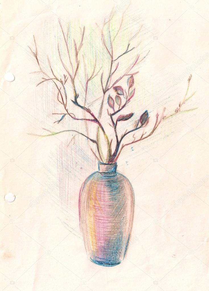 Blumen In Der Vase Handgemalte Abbildung Bleistiftzeichnung