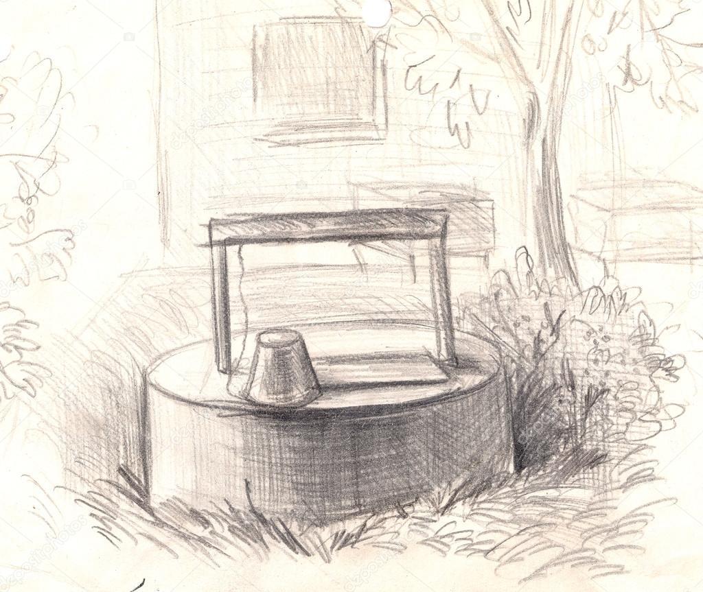 Kırsal Su Ile Iyi El çizimi Boyalı Karakalem Stok Foto