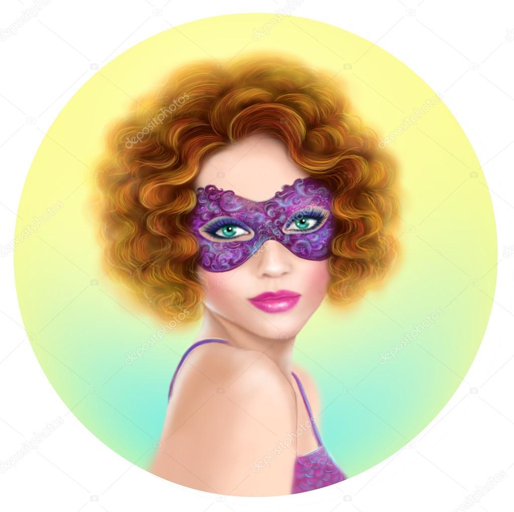 Beautiful retro woman wearing venetian masquerade carnival mask