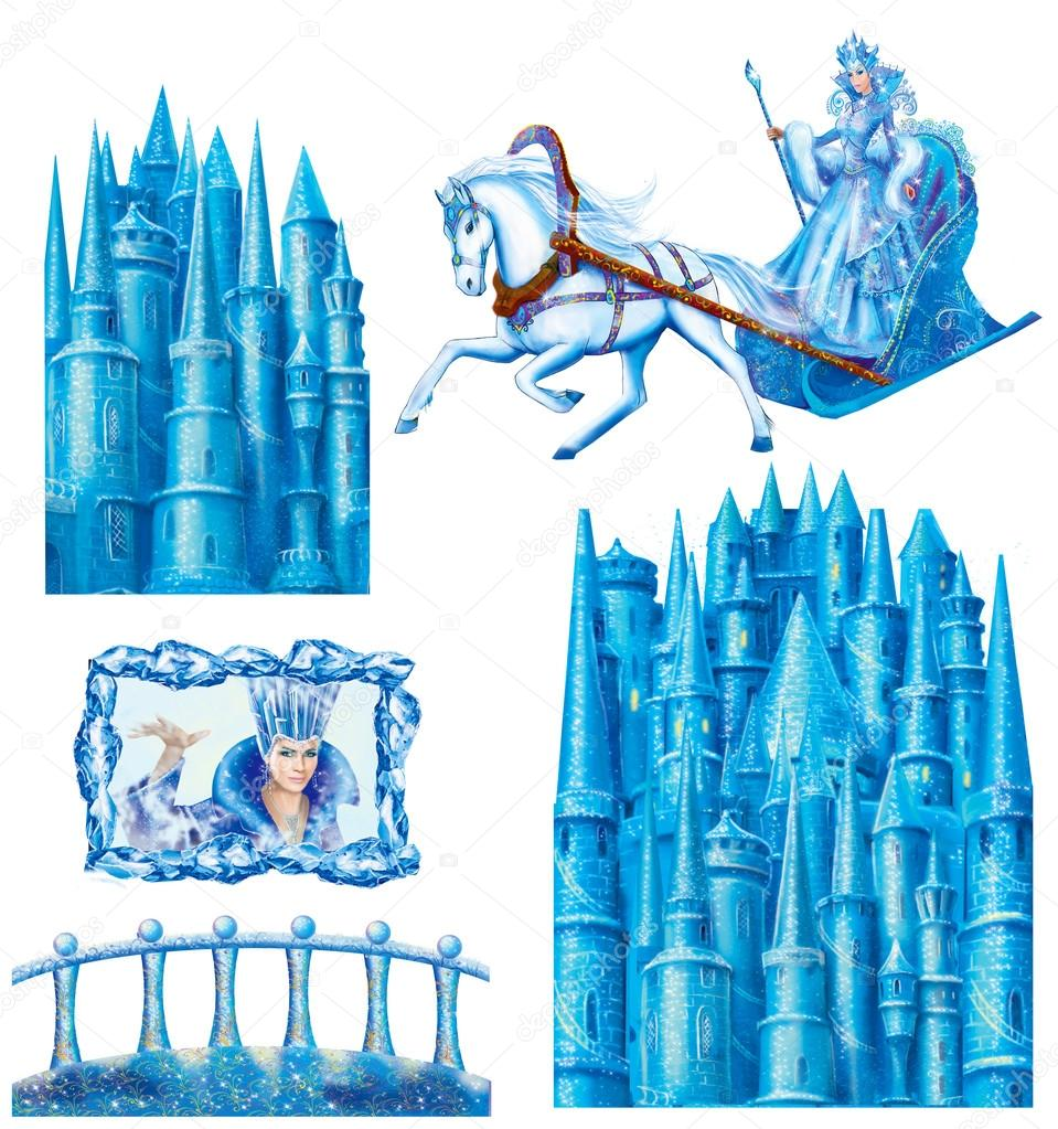 Set cartoon house for fairy tale Snow Queen written by Hans Christian Andersen