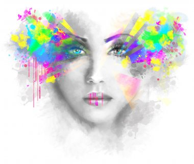 Multicolored abstractn Woman Beautiful portrait