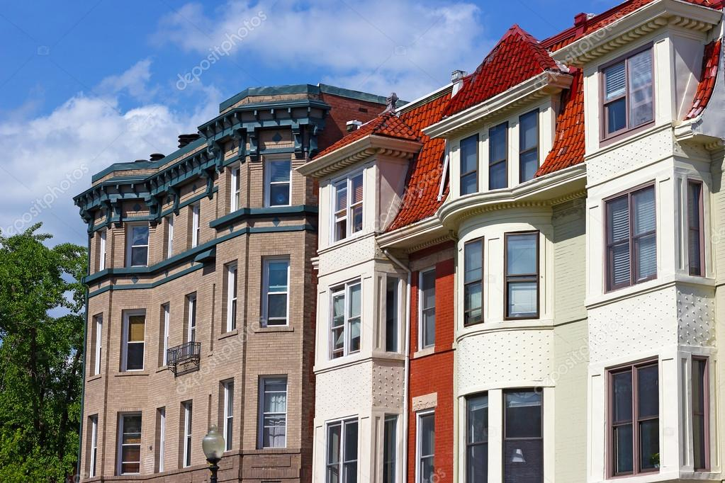 Modern Row House | Modern Row Houses Of Historic Surburb In Washington Dc Stock