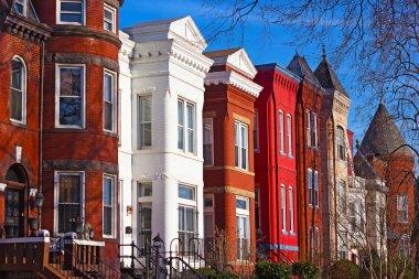 Row houses of Mount Vernon Square in Washington DC.