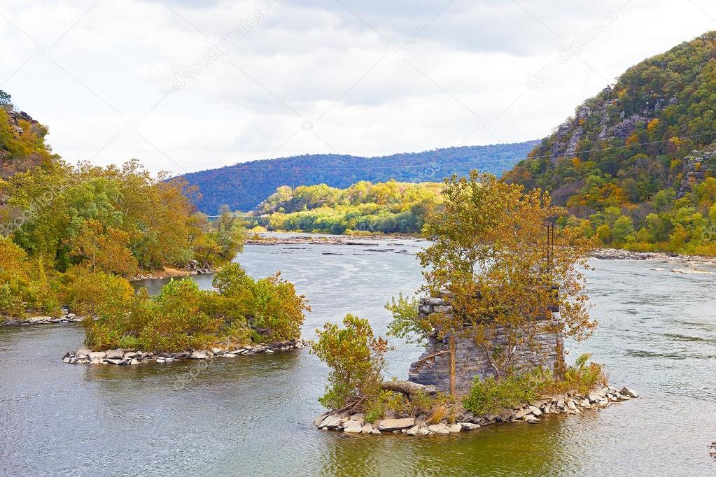 Shenandoah River and Potomac River meet each other near Harpers Ferry historic town.