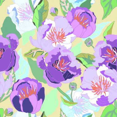 Seamless floral  background. Isolated blooming lilac flowers and